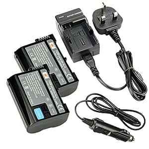 DSTE EN-EL15 incluses ® 2 x Batterie Li-ion Rechargeable DC113U transport et adaptateur pour chargeur de voiture pour appareil photo Nikon 1 V1/D600/D610 D800 D800E D7000 D7100 D750 D7200 D810A appareil photo Nikon ENEL15