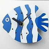 COOLSHOPY 青と白 かわいい熱帯魚 冷蔵庫用マグネット レトロ マグネット掛け時計 ウォールステッカー 部屋装飾 模様替えに 簡単 セイコークロック プラスチック枠 クリエイティブ 壁時計 ウォールクロック