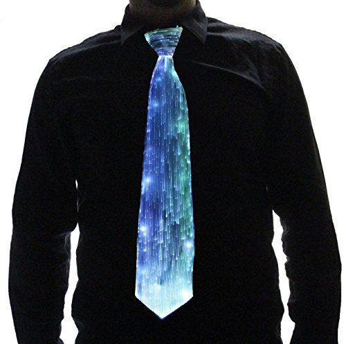 HolyThreads! Fiber Optic Tie (White Tie, 7 Colors) - Light Up Tie - Glow Tie (Large) (El Wire Clothing compare prices)