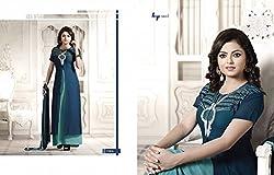 JJR Store Designer Blue Georgette Embroidered Dress material