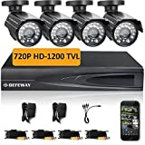 DEFEWAY 720P HD 1200TVL Surveillance Camera System with 4CH 720P AHD CCTV DVR and 4 Outdoor Security Cameras NO Hard Drive - Quick Remote Access Setup with Free App - 110ft(33m) IR Night Vision