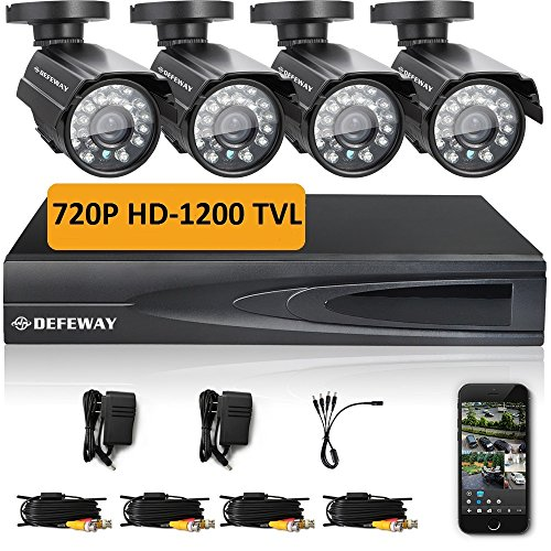 DEFEWAY 4 Outdoor 720P HD 1200TVL Home Security Camera System