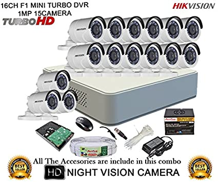Hikvision DS-7116HGHI-F1 16CH Dvr , 15(DS-2CE16C2T-IR) Bullet Camera 16Pcs, (With Mouse, Remote, 2TB HDD , Bnc&Dc Connectors,Power Supply ,Cable)