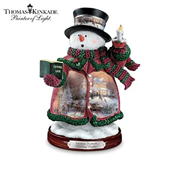 #!Cheap Thomas Kinkade Holiday Lights Snowman Figurine by The Bradford Editions