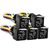 Nilight Automotive Relay Harness Set 5-Pin 30/40A 12V SPDT with Interlocking Relay Socket and Wiring Harness - 5 Pack ,2 years Warranty
