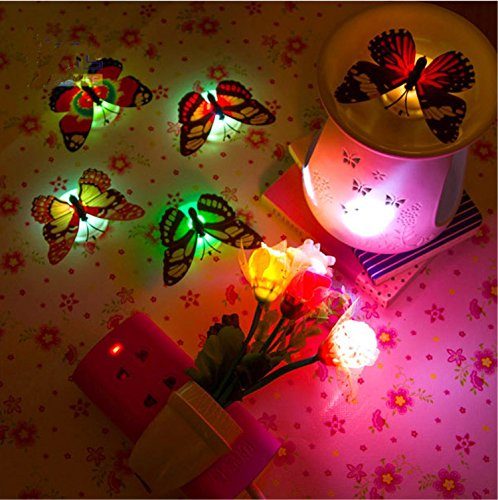 Yosoo Creative Flashing Colorful Butterfly Night Light Stickers Light Indoor Lighting Decorations Wall Xmas Decor Random Colors (20pcs)