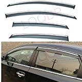 LQQDP 4pcs Smoke Tint With Chrome Trim Outside Mount Tape On/Clip On Style PVC Sun Rain Guard Vent Shade Window Visors Fit 13-18 Nissan Sentra