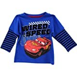 Disney Cars Wired for Speed Blue Toddler Hooded Layered Long Sleeve T-Shirt