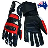 Vector Pro Series Motorcycle Leather Sports Gloves Red Size XL