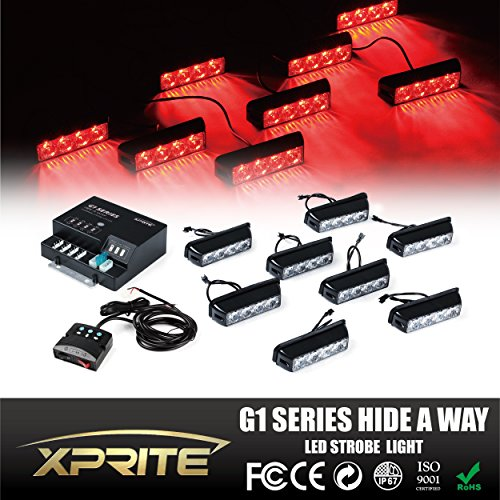 Xprite G1 Series Red 4 LED 4 W 8 Heads 32 LED Hide A Way Emergency Vehicle Strobe Warning Lights Lightbars For Deck Dash Grill Windshield Headliner (R 32 Grill compare prices)