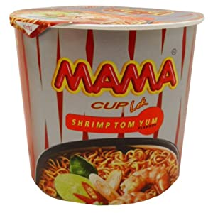 Mama Instant Cup Noodles Tom Yum Shrimp Flavor Thai Original Spicy Net Wt 42 G (1.48 Oz) X 9 Cups by President Rice Products Public Company Limited. Thailand