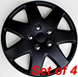 ABS Plastic Aftermarket Wheel Cover Matte Black Speical Finish 16 Inch Hubcaps 4 Pieces