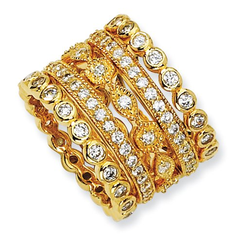 Gold-Plated Sterling Silver Cz Eternity Five Ring Set, Size 6