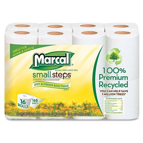 Marcal 1646616PK Small Steps 100% Recycled 2-Ply Toilet Tiss