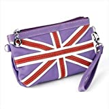 Purple Union Jack Faux Leather Clutch/Bag AJ23923