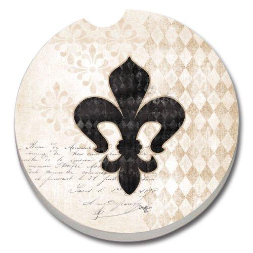 Counterart Absorbent Stoneware Car Coaster, Cherish Fleur De Lis