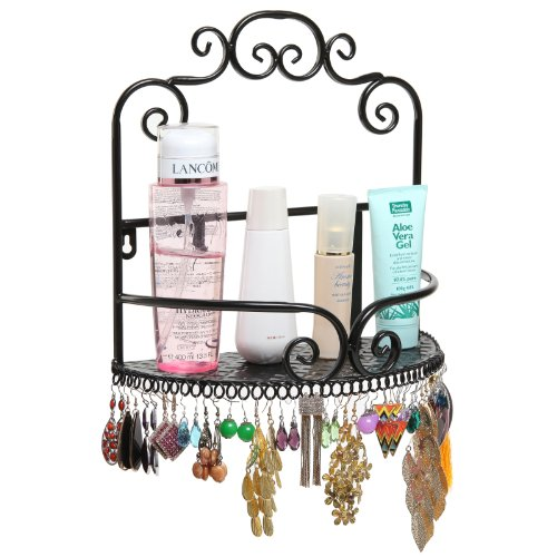 Elegant Decorative Wall Mounted Storage Display Shelf Rack & Earring Organizer