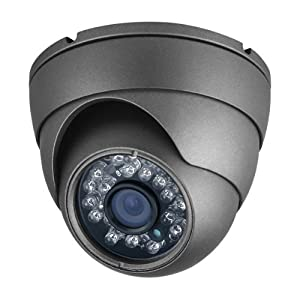 "R-Tech 600 TVL Dome Security CCTV Camera, SONY 1/3"" Super HAD CCD II, SONY Effio-E DSP, 3.6mm Fixed Lens, 23pcs 5 IR LEDs, Indoor Application, Gray Color Aluminum Housing, DC 12V Input"