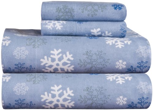 Pointehaven Heavy Weight Printed Flannel 100-Percent Cotton Sheet Set, Snow Flakes, Queen (Christmas Flannel Sheets compare prices)