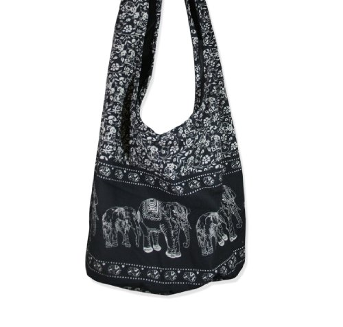 Thai Monk Cotton Elephant Sling Crossbody Messenger Bag Shlouder Purse Hippie Hobo Color Black