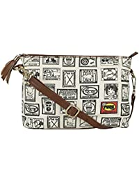 Funk For Hire Women Match Box Printed Small Canvas Sling Cross Body Bag Ecru