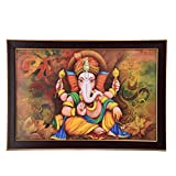 GATTS Mighty Ganesha Decorative & Colorful Canvas Wall Painting (13.5x19.5x0.5 Inch)