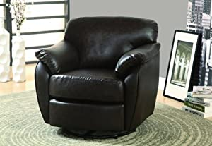 Monarch Leather-Look Swivel Accent Chair, Dark Brown