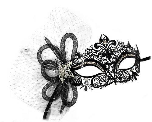 Simone Laser-Cut Metal Black Venetian Women's Masquerade Mask w/ Tubular Flower