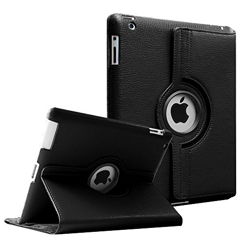 Fintie Apple iPad 2/3/4 Case - 360 Degree Rotating Stand Smart Case Cover for iPad with Retina Display (iPad 4th Gen), the new iPad 3 & iPad 2 - Black (Stand Ipad 4 compare prices)