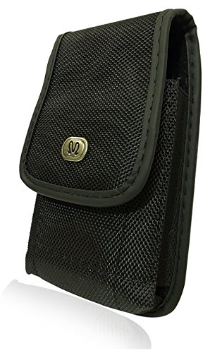 Vertical Heavy Duty Rugged Canvas Belt Clip Case Cover Pouch Holster for BlackBerry Torch 9850 & Monaco & Monza * Secure Velcro Closure