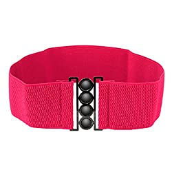 Imported Women Elastic Faux Leather Buckle Waist Wide Belt Stretch Waistband Rose Red