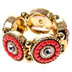 Gold and Coral Circle Stretch Ring