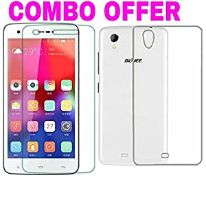 AVICA™ COMBO OFFER Premium Transparent Crystal Clear Back Cover TPU +2.5D Tempered Glass Screen Protector For Gionee M2