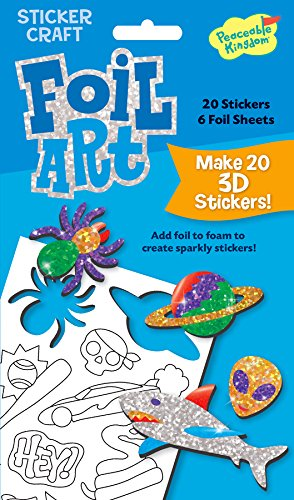 Peaceable Kingdom / Foil Art Boy'S 3D Sticker Craft Pack front-1060304