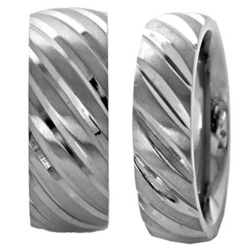 His And Hers Wedding Ring Sets 6/9Mm Titanium Band Dome Satin Top Swirled Diagonally Grooved Wedding Ring