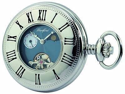 Woodford Pocket Watch 1024 Chrome Plated Moondial Half Hunter Mechanical