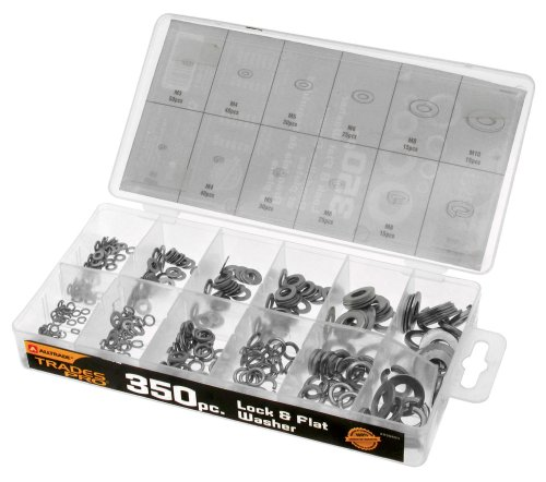 Tradespro 835804 Lock and Flat Washer Assortment, 350-Piece