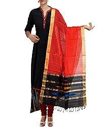 Unnati Silks Women Red-black Pure Handloom Maheshwari Jute Silk dupatta
