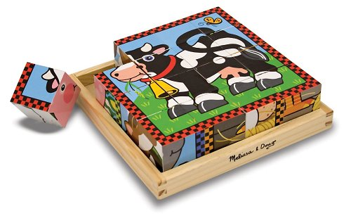 Farm Themed Cube Puzzle + FREE Melissa & Doug Scratch Art Mini-Pad Bundle [07757] - 1
