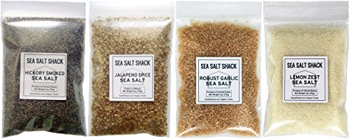 Sea Salt Shack Infused Variety 4 Pack | Hickory Smoked Sea Salt, Robust Garlic Sea Salt, Jalapeno Spice Sea Salt, Lemon Zest Sea Salt (2oz Each) (Infused Salt compare prices)