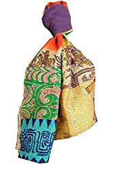 GiftPiper Reversible Patchwork Kantha Stole in Cotton Silk- Pattern 2