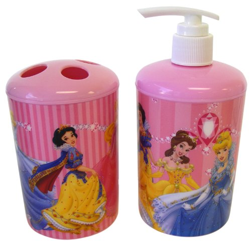 Disney Princess 2pc Toothbrush Holder and Soap Dispenser Princess Bath Set - Princess Toothbrush Holder - Princess Soap Pump