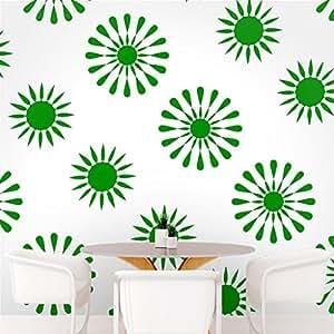 DeStudio Floral Tile Wall Decal, Size LARGE & Color : GREEN