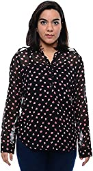 CHLOE Women's Regular Fit Shirt (CH-AM-11356P21-XS, Black, XS)
