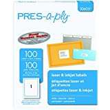 Pres-a-ply Laser Address Labels, 8.5 x 11 Inches, White, Box of 100 (30605)