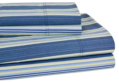 Elite Home 300 Thread Count Lindsey Stripe 100-Percent Cotton Sateen 4-Piece Sheet Set, Full, Blue
