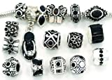 Ten (10) of Assorted Shades of Black Crystal Rhinestone Beads (Styles You Will Receive Are Shown in Picture Random 10 Beads Mix) Charms Spacers for Bracelets