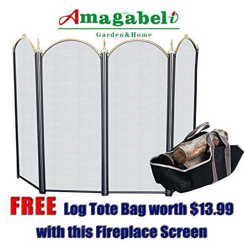 4 Panel Outdoor Large Gold Fireplace Screen Wrought Iron Black Metal Fire Place Screens