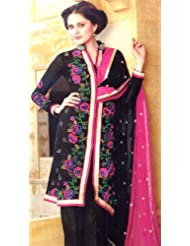 Exotic India Jet-Black Parallel Suit With Embroidered Flowers And Se - Jet-Black