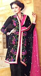 Exotic India Jet-Black Parallel Suit with Embroidered Flowers and Se - Jet-BlackGarment Size Send as Unstitched